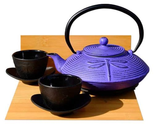 Cast Iron Purple Dragonfly Tea set D - Tetsubin teapot kettle, trivet & cups X2