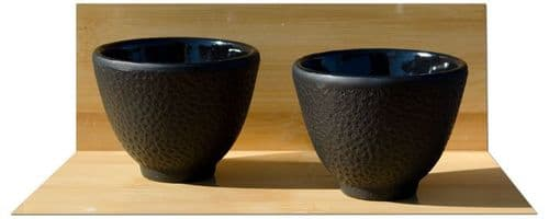 Cast iron tea cup Hammered surface pattern design X2 - black colour