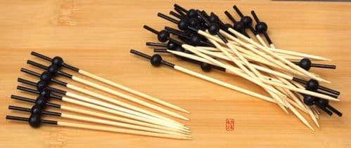 Cocktail stick skewer with black bead & top 10cm x 1000 Japanese style - GOTO