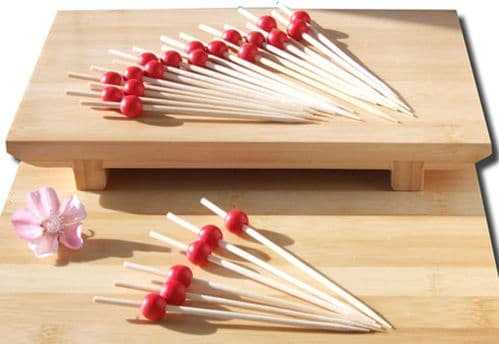 Cocktail stick skewer with red bead 12cm x 200 Japanese style - GOTO