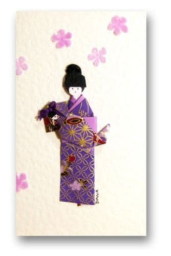 Greetings card Handmade - Mother Rocking baby,Yuzen Washi Japanese paper - Purple