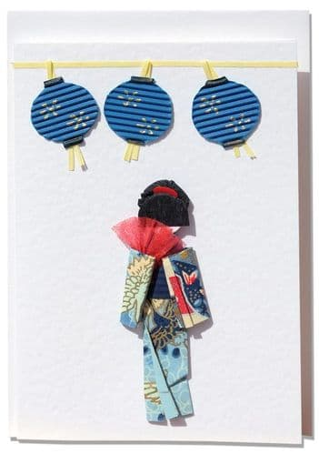 Handmade Greeting Card - Blue Origami Geisha with oriental lanterns
