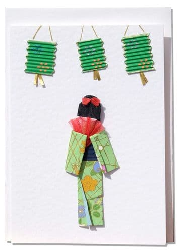 Handmade Greeting Card - Green Origami Geisha with oriental lanterns