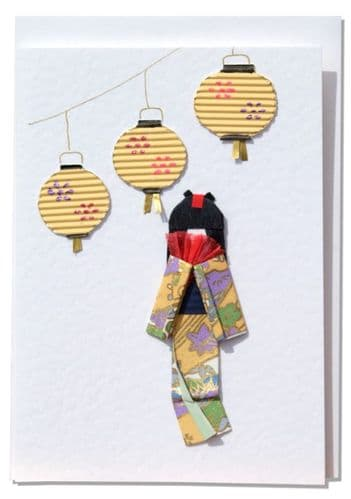 Handmade Greeting Card - Yellow Origami Geisha with oriental lanterns