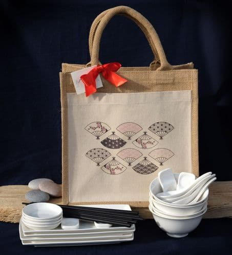 Jute Gift Bag (L)white sushi set with bowls and spoons for 4