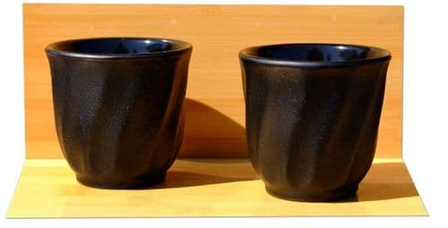 Morning Mist - Cast iron black tea cup X2