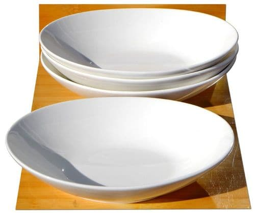 Oval shaped food white ceramic bowls L22.5cm x W16cm x H5cm for 4