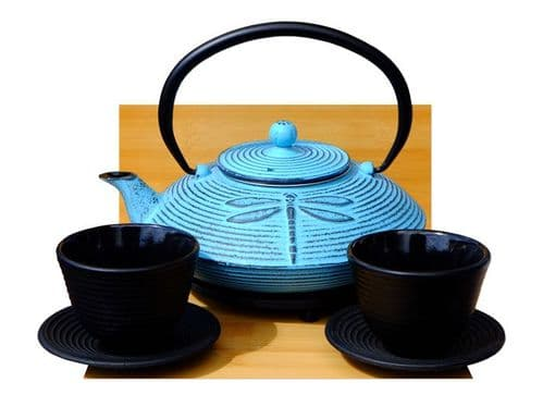 Round Trivet Cups Cast Iron Light Blue Dragonfly teapot 0.8 litre Japanese style