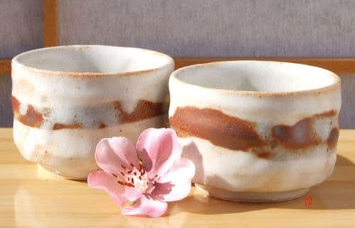 Sake cups Japanese white with brown stripe rustic stoneware X 2