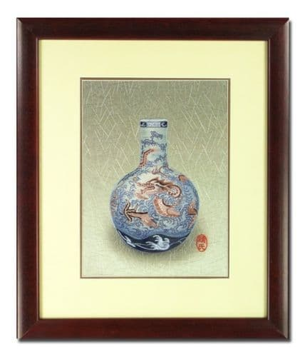 Silk Embroidery Picture - Blue Dragon Vase by Chinese Master Craftswoman of the Gu family