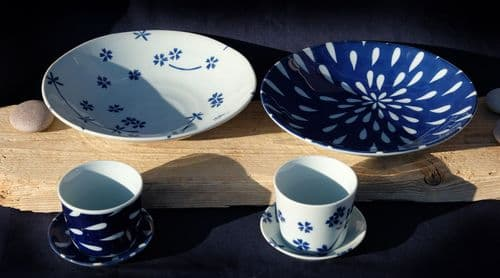 Soba Japanese noodle plate set blue & white X2