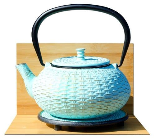 Trivet & RATTAN cast iron tea pot kettle 0.8L Aqua on gold colour Tetsubin Japanese style GOTO®