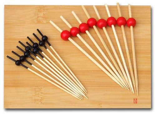 Twin cocktail stick set - skewers with red & black bead top x 100 each - Japanese style